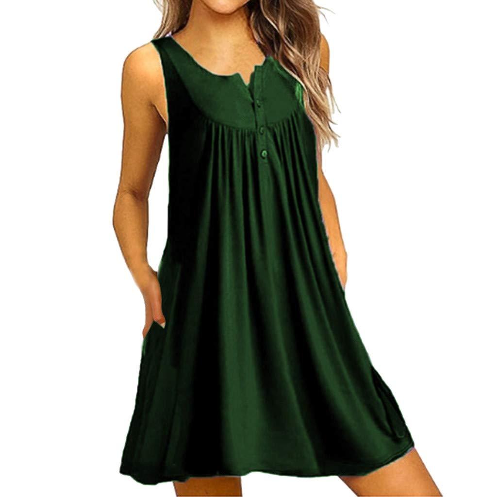 Women Loose Tunic Tank Dress Summer Casual Pockets Sleeveless Party Beach Swing Mini Dresses Plus Size (Green, L)