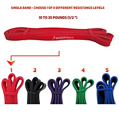 Red - Single Band - WODFitters Assisted Pull-up Resistance Band for Cross Fitness Training and Power-lifting (Single Band) Ideal for Assisted Pull Ups, Chin Ups or Power Lifting
