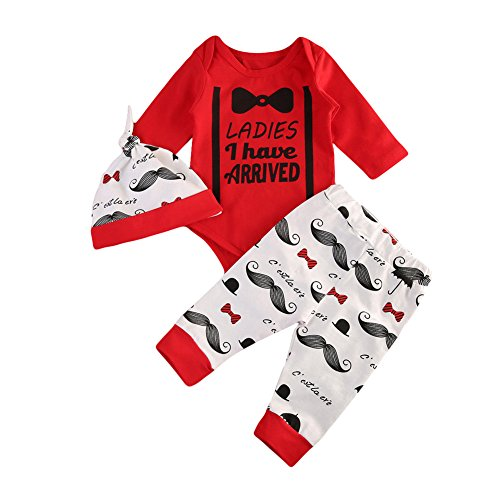 CAIBIET Newborn Baby Girl Boy Coming Home Outfits,Ladies I Have Arrived Bodysuit+Print Long Pants With Hat Infant 3Pcs/Set (70(0-6 Months), Red)