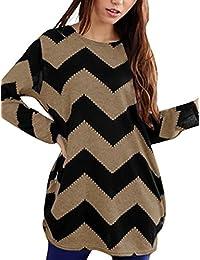 Allegra K Ladies Zig-Zag Pattern Loose Knitted Tunic Shirt