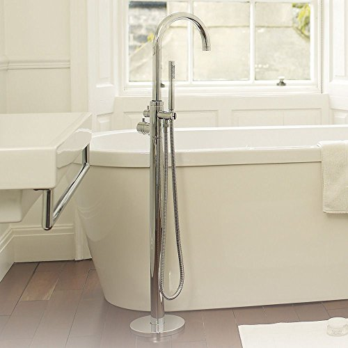 Hudson Reed Modern Thermostatic Tub Shower Mixer Faucet With Swivel Spout & Handshower Kit - Single Control Bath Filler Set - Floor Mounted - Solid Brass Construction - Chrome Finish Hudson Reed