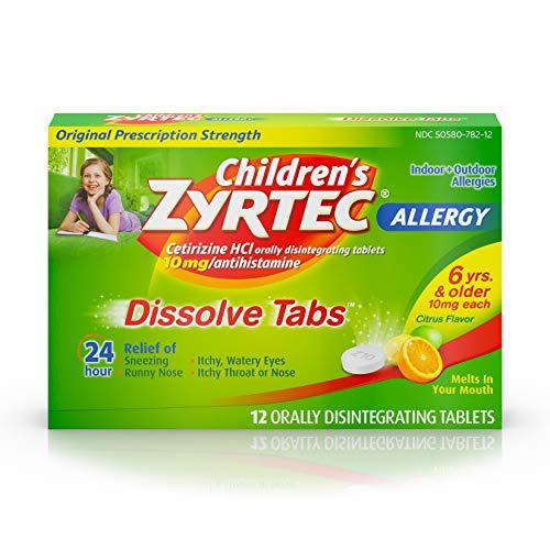 Children's Zyrtec Orally Disintegrating Tablets Allergy Citrus