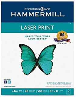 """product image for 104604 Hammermill Laser Paper - Letter - 8.50"""" x 11"""" - 24 lb Basis Weight - 0% Recycled Content - Ultra Smooth - 98 Brightness - White"""