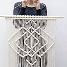 "RISEON Geometric 31.5""W x 39""L Macrame Wall Hanging Tapestry- Macrame Door Hanging,Room divider,macrame Curtains,Window Curtain, wedding Backdrop BOHO wall decor (without bar)"