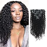 Lovrio 9A Grade Jerry Curl Clip on Hair Extension Virgin Human Hair Real Thick Make Full Head 3A and 3B Hair Type for African Americans 7 Pcs with 16 Clip 120g 20'