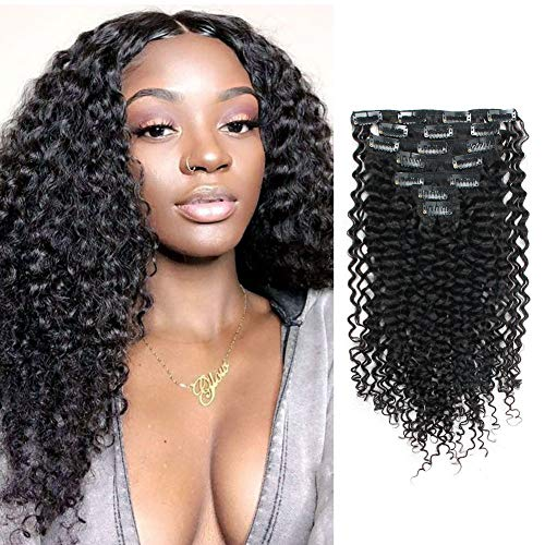 Lovrio 9A Grade Jerry Curly 3A 3B Clip in Hair extensions Natural Black Color 100% Remy Virgin Human Hair for African Americans 7 Pcs with 16 Clips 120g 16
