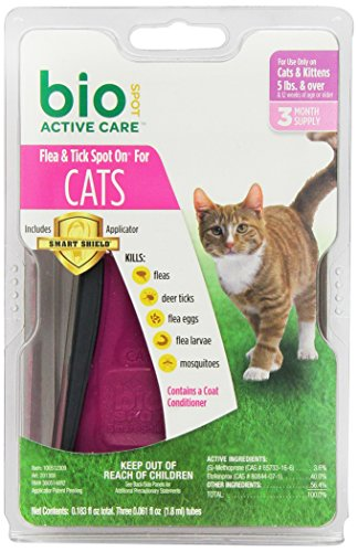 Defense Dog Spot Bio - BioSpot Active Care Spot On with Applicator for Cats over 5 lbs, 3 Month Supply