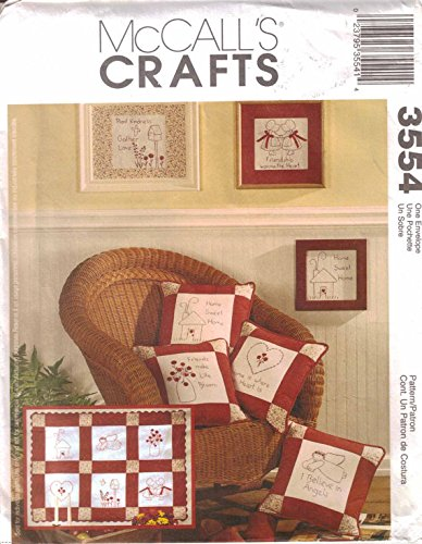MCCALLS 3554 REDWORK CRAFTS ~ QUILT, PILLOW, WALL HANGINGS ~ SEWING PATTERN