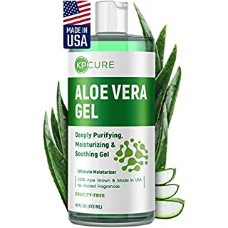 Aloe Vera Gel - Face and Body After Sun Care - Made in USA - Hydrating Gel for Sunburn Relief, and Acne - Deeply Hydrating, Moisturizing Skin & Hair