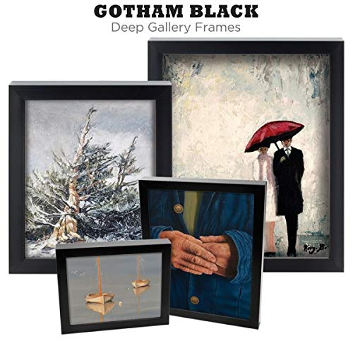 (9x12 Black Picture Frame - Set of 3 Gotham Deep Gallery Frame Professional Gallery-Quality Extra Deep Made to Order - No Glass or Backing - Midnight Black Finish - [9
