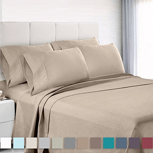 Cal King 6 Piece Bedding - Empyrean Bedding Premium 6-Piece Bed Sheet & Pillow Case Set – Luxurious & Soft Cal King Size Linen, Extra Deep Pocket Super Fit Fitted Beige Cream Sheets