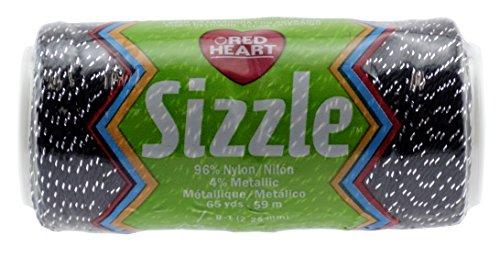 Red Heart Sizzle Yarn, Black/Silver