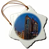 3dRose Danita Delimont - Cities - UAE, Abu Dhabi. Cityscape seen from Corniche Road East - 3 inch Snowflake Porcelain Ornament (orn_277128_1)