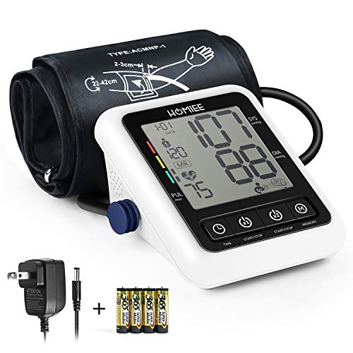 Blood Pressure Monitor with AC Adapter, HOMIEE Upper Arm Blood Pressure Machine with AFIB Detection, 2 Users 240 Memories, 2.4