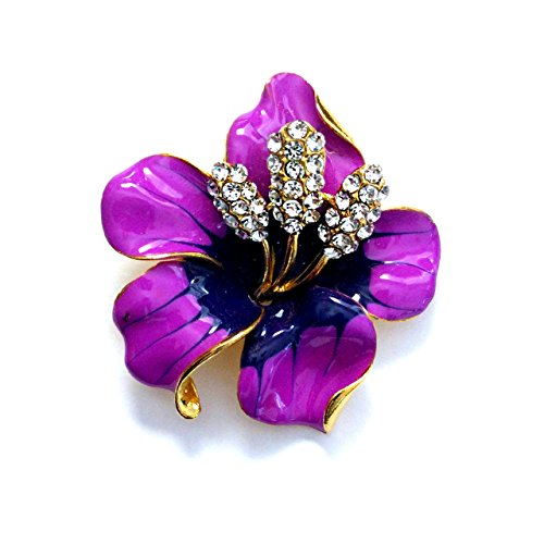 Purple Bejeweled and Enameled Hawaiian Hibiscus Flower Pin [Island Style]