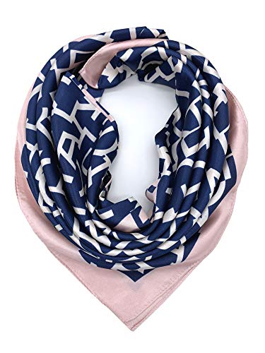 YOUR SMILE Silk Feeling Scarf Women's Fashion Pattern Pink&Blue Large Square Satin Headscarf (326)