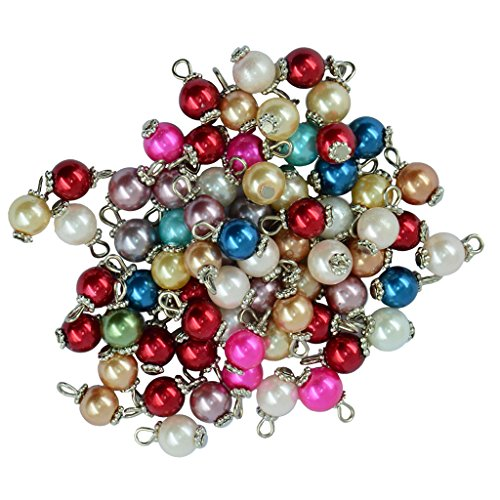 - Dovewill 50 Pieces Colourful Charms Dangle Pendant Metal Flower Round Glass Pearl Beads - Silver