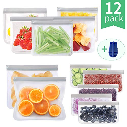 Reusable Food Storage Bags Freezer Safe Leakproof Ziplock Lunch Bag for Food, Meat, Fruit, Cereal, Sandwich, Snacks, Toiletries, Make-up, Sous Vide (12-Pack (Gray))