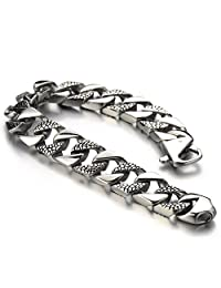 Stainless Steel Fancy Curb Chain Bracelet for Men for Boys Silver Color Polished