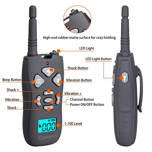 CANAVIS Dog Shock Collar with 1800Ft Remote, Waterproof Dog Training Collar, Rechargeable Electronic Collar with Vibration Tone Shock Modes, Adjustable Collar Strap for Small Medium Large Dog by CANAVIS (Image #1)