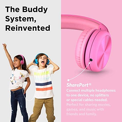 New! LilGadgets Connect+ PRO Kids Premium Volume Limited Wired Headphones With SharePort And Inline Microphone (Children) - Pink