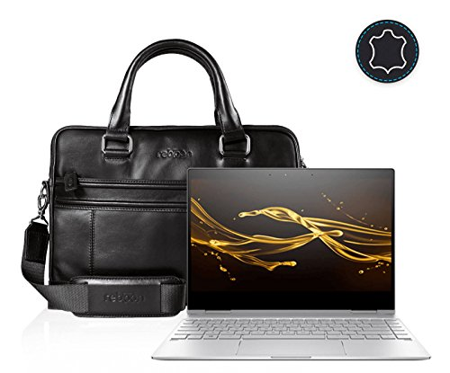 reboon Echt-Leder Laptop-Tasche in Schwarz Leder für HP Spectre x360 13 ae035ng 13 3 | 13 Zoll | Notebooktasche Umhängetasche | Damen/Herren - Unisex | Premium Qualität Schwarz Leder