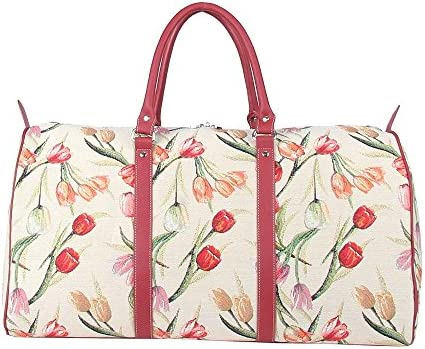 Signare Tapestry Large Duffle Bag Overnight Bags Weekend Bag for Women with Tulip Floral White Design BHOLD-TULWT
