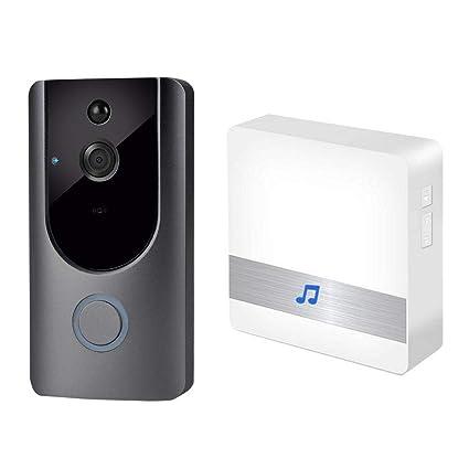 KOBWA Timbre de Video con Wi-Fi con Receptor de Timbre Inalámbrico, Cámara de Timbre HD de 720P, Detección de Movimiento PIR, Timbre de Video ...