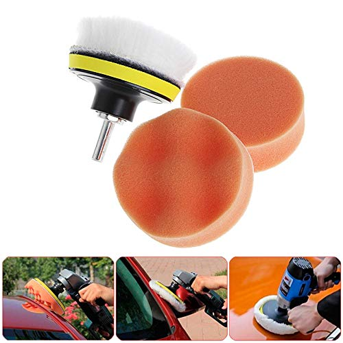 Car Polish - 5pcs 3 Inch 4inch 5inch M10 Sponge Waxing Buffing Polishing Pad Kit With Drill Adapter