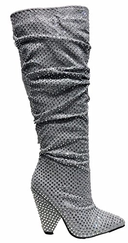 Anne Michelle Immerse-01S Knee High Cone Heel Scrunch Slouchy Rhinestone Embellished Boots Silver 6.5 Suede Scrunch Boot