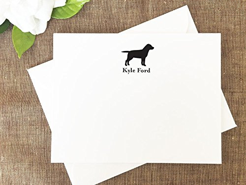 Labrador Retriever Dog Note Cards, Personalized Stationery Set of 10 flat note cards and envelopes (Labrador Retriever Stationery)
