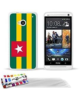 """Carcasa Flexible Ultra-Slim HTC ONE / M7 de exclusivo motivo [Bandera Togo ] [Blanca] de MUZZANO  + 3 Pelliculas de Pantalla """"UltraClear"""" + ESTILETE y PAÑO MUZZANO REGALADOS - La Protección Antigolpes ULTIMA, ELEGANTE Y DURADERA para su HTC ONE / M7"""