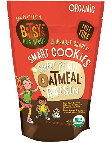 Bitsy's Organic Smart Cookies, Sweet Potato Oatmeal Raisin, 5 Ounce Gusset Bag, Healthy Organic Nut-Free Snacks with Fruits and Vegetables for Kids ()