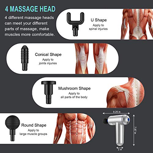 Deep Tissue Percussion Muscle Massage Gun, USB Rechargeable Handheld Electric Massager for Athletes Percussion Device, Super Quiet 6 Speed High-Intensity Vibration Messager with 4 Message Heads
