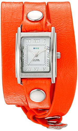 - La Mer Collections Women's 'La Mer Collections Women's Neon Orange Silver Triple Wrap Watch' Quartz Orange Leather Casual Watch (Model: LMSTWGMA14014)