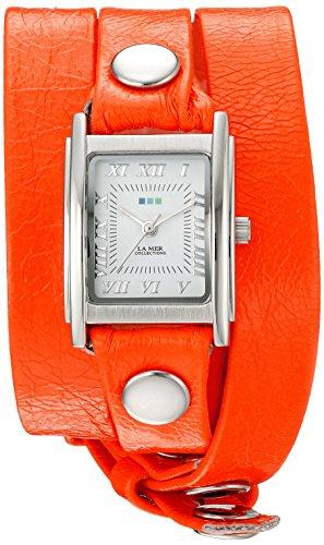 Silver Triple Wrap - La Mer Collections Women's 'La Mer Collections Women's Neon Orange Silver Triple Wrap Watch' Quartz Orange Leather Casual Watch (Model: LMSTWGMA14014)