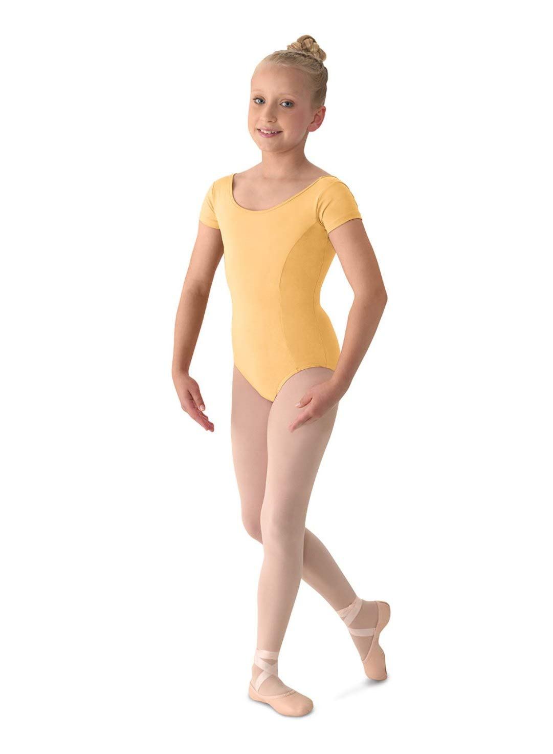 Mirella Girl's Princess Seam Cap Sleeve Dance Leotard Buttercup 12 by Mirella