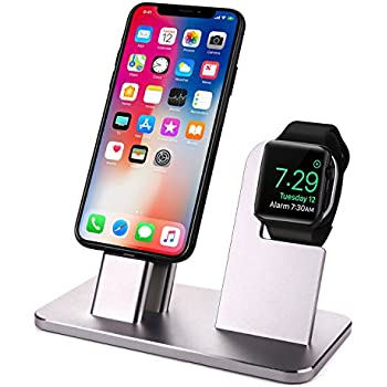 Watch Stand for Apple Watch Charging Stand with iPhone Charging Dock for Apple Watch Series 3/2/1/42MM/38MM, iPhone X/8/8 Plus/7/7 Plus/6S/6S Plus with ...
