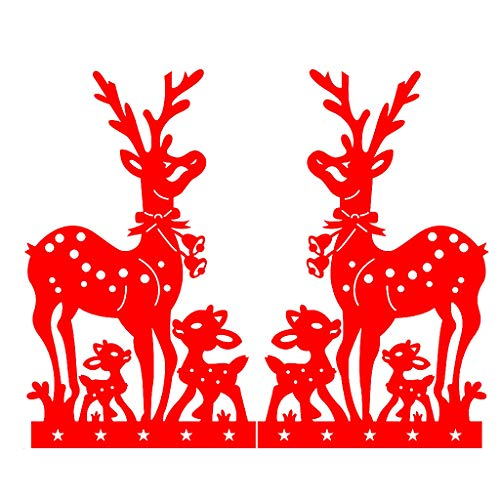 BXzhiri Christmas Decor Window Sticker Window Decoration Christmas Sika Deer Static Sticker Ornaments (Designs Sika)