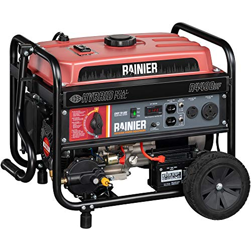 Rainier R4400DF Dual Fuel (Gas and Propane) Portable Generator with Electric Start - 4400 Peak Watts & 3600 Rated Watts - CARB Compliant (Propane Generator Watt)