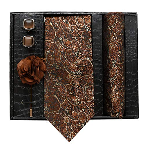 Axlon Necktie, Pocket Square, Brooch Pin Cufflinks Set for Men's ( ANeckTie-013 )