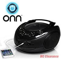 ONN CD/AM/FM Portable Boombox with Line-in Jack (Certified Refurbished)