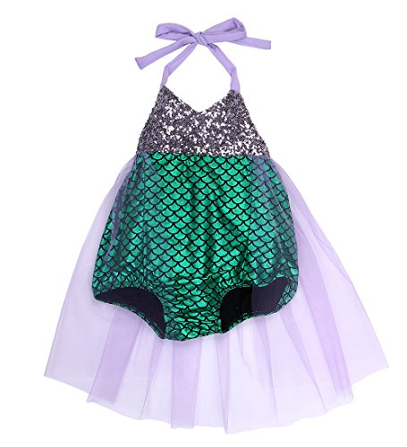 Baby Girls kids Little Mermaid Sequins Bikini Suit Swimsuit Costume Beachwear , Style 1, 0-6 (Baby Little Mermaid Costume)