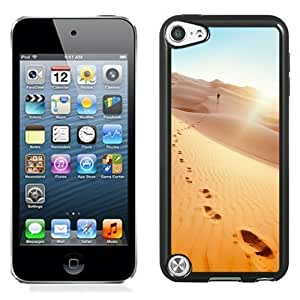 NEW Unique Custom Designed iPod Touch 5 Phone Case With Man Footprints Desert_Black Phone Case