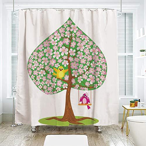 scocici Bathroom Curtain Separation Door Curtain Shower Curtain,Animal Decor,Heart Shape Spring Tree with Flowers Blossom and Singing Bird Love Season Art,Pink Green Brown,72