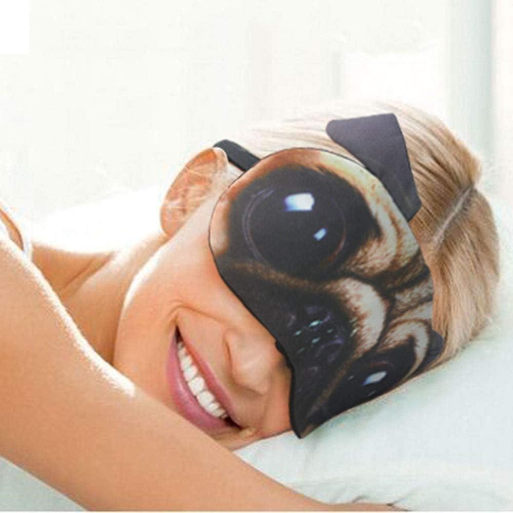 Pour dormir Masque de sommeil mignon pour les yeux Masque de dessin anim/é doux et rembourr/é Motif chat et carlin Pour homme et femme