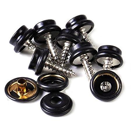 Trimming Shop - Bottoni a pressione con vite neri da 10x 15mm, composti da 3 pezzi, bottoni a pressione resistenti, ideali per abbigliamento e accessori, aggiungono una chiusura sicura a giacche, jeans, borse e altri progetti di cucito (10pezzi)