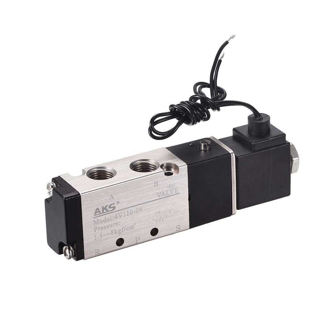 sourcing map 4V110-06 Electrov/álvula individual de aire manual DC 12V de 5 V/ías 2 Posiciones G 1//8