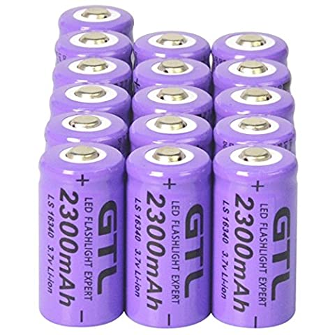 16x 3.7V CR123A 16340 2300mAh Purple GTL Rechargeable Battery Cell – Flashlight