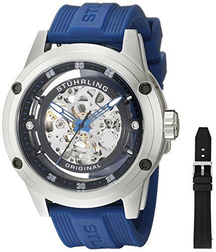 Stuhrling Original Men's 314R.3316C51 Zolara 360 Automatic Skeleton Sport Watch with Rubber Strap Set